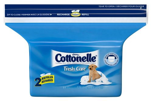 Cottonelle Fresh Care Folded Moist Wipes Pop-Up Refill, 84 Count (Pack of 8)