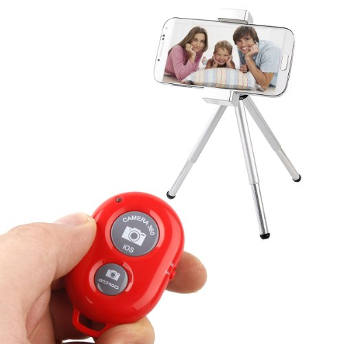 Bluetooth Wireless Remote Control Camera Shutter Release Self Timer for iPhone 5 5s 5c 4s 4, iPad 5 4 3 iPad Air Mini, Samsung Galaxy S4 S3 Note 3 2, Android Phone (Red)
