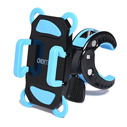 Bike Mount, CHOE Universal Bicycle Handlebar & Motorcycle Holder Cradle for iPhone 6S plus 5S 5C, Samsung Galaxy S7 Edge S6 Edge Note 5, LG G5, HTC10 and more (360 Degree Rotation, Rubber Strap)