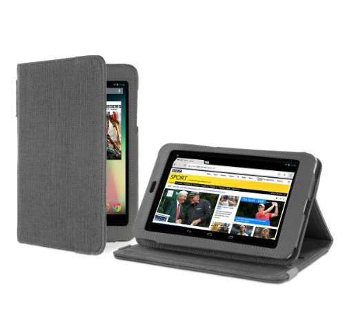 Cover-Up Google Nexus 7 Tablet Version Stand Natural Hemp Case with Sleep / Wake function - Slate Gray
