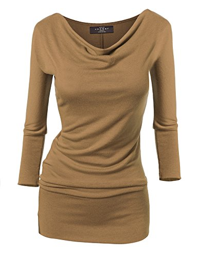 MBJ Womens Long Sleeve Cowl Neck Pullover Tunic Top