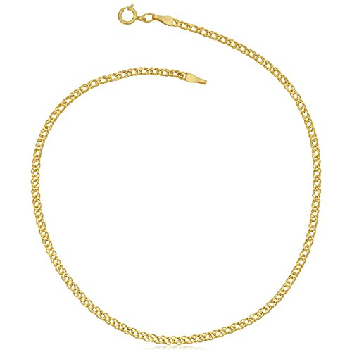 14k Yellow Gold 2mm Diamond Weave Curb Chain Anklet (10 inch)