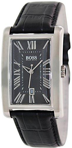 Hugo Boss Black Dial Black Leather Strap Mens Watch 1512708