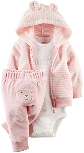 Carter's Baby Girls' 3 Piece Terry Cardigan Set (Baby) - Pink - 6M
