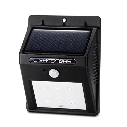 LIGHTSTORY® Solar Sensor Light Motion Detector 6 LEDs (CH-LSL002,900 mAh Battery, 10 ft Detection Range, 12 hr Runtime)