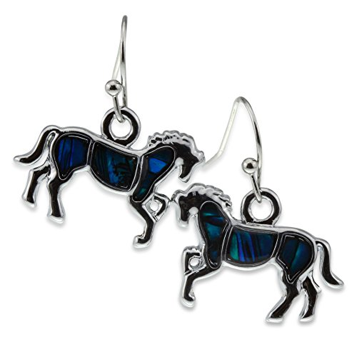 Blue Green Abalone Paua Shell Galloping Prancing Horse Lover Silver Jewelry Earring for Girl Women Teen