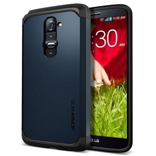 SPIGEN LG G2 Case Slim [Slim Armor] [Metal Slate] Dual Layer Protective Case for AT&T, Sprint, T-Mobile, International ONLY - Me