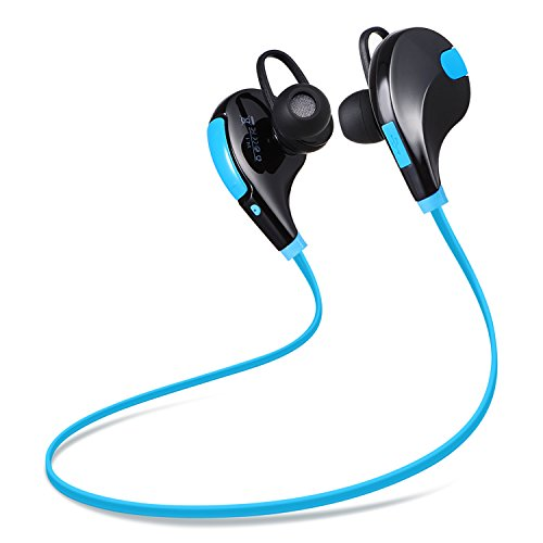 Redlink Bluetooth Headphones Wireless Sports Stereo Earbuds Headsets with HD Mic (CVC 6.0 Noise Cancelling- Blue)