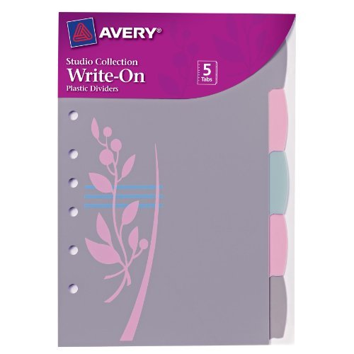 Avery Mini Studio Collection Write-On Tab Dividers with Retro Flower Design on Divider, 5.5 x 8.5-Inches , 5 Tabs (16187)