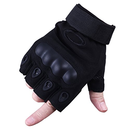 Dreampark Free Soldier Mens Hard Knuckle Military Half finger Fingerless Tactical Gloves for Gear Sport Shooting Paintball Airsoft Hunting Shooting (Black Fingerless, Large)