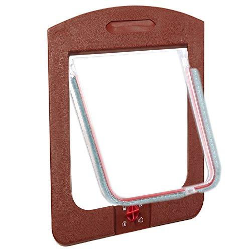 Pet Cat Kitty Small Dog Puppy Plastic Lockable Flap Safe Door Tunnel 4 Way Locking Brown