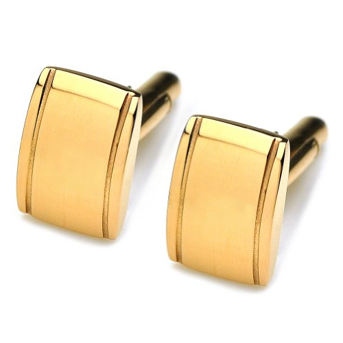 PenSee Classic Stainless Steel Gold Cufflinks for Men With Gift Box