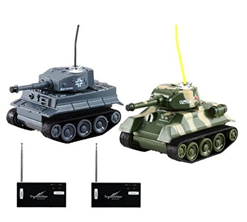 R/C Mini Wireless Remote Control Battle Tanks (Pair) Tanks have built-in rechargeable battery - Awesome Latest Cool Toy - Tons of fun for kids and adults! - Colors may vary