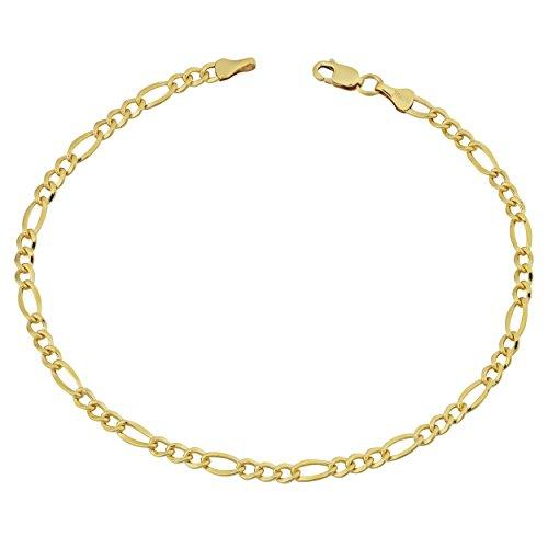 14k Yellow Gold Filled Solid 3.2mm Figaro Link Bracelet (8.5 inch)