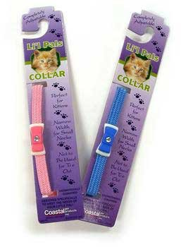 Li'l Pals Adjustable Kitten Collar with Bow & Bell - Light Blue - 5/16