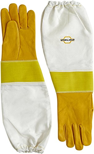 NATURAL APIARY® BEEKEEPING GLOVES - COWHIDE - STING PROOF CUFFS - EXTRA SMALL - Soft & Durable Leather - Long Thick Sleeves