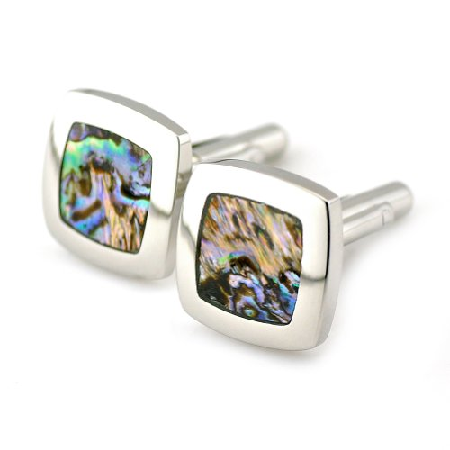 PenSee Rare Stainless Steel & Abalone Shell Cufflinks for Men with Gift Box