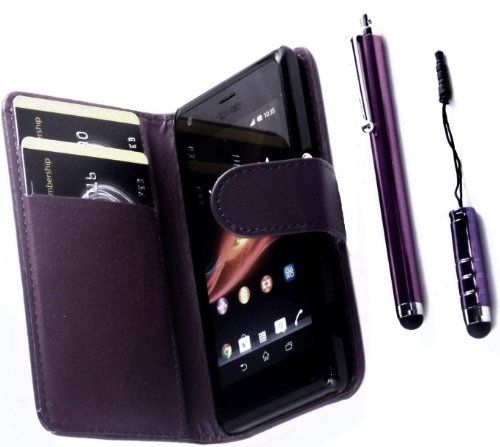 R.BAWA. Pack Containing 5 Parts. Purple Leather Wallet Case For Sony Xperia M + 2 Screen Protectors + 2 Stylus Pens