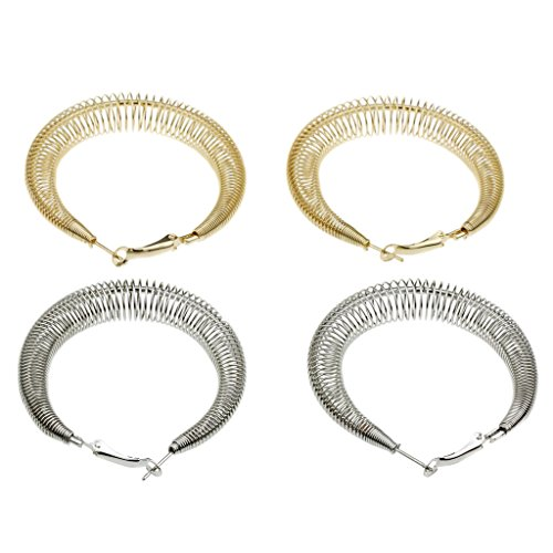 Oval Atmosphere Spring Style Brass and Silver Womens Omega Clasp Earrings