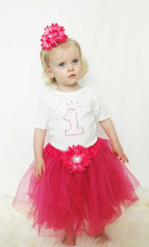 Baby Girls First 1st Birthday Princess Pink Tutu Set (12-18 months, Hot Pink)