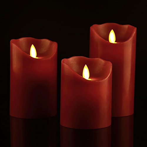 Flameless Candles 4 5 6 Set of 3 Burgundy Color Real Wax Pillars Include Realistic Dancing LED Flames and 10-key Remote Control with 24-hour Timer Function -AntizerTM