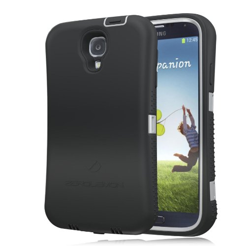 [180 Days Warranty][Case WITHOUT Battery] Zerolemon Gray / Black Zero Shock Series for Samsung Galaxy S4 S Iv I9500 - Covers All Battery Sizes - Worlds Only Universal Form Fitting Case. Rugged Hybrid Case Includes Screen Protector, Belt Clip and Kickstand **Usa Patent Pending**