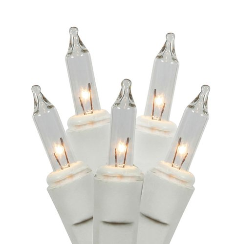 Vickerman W4W0751 50Lt Random Twinkle End Connecting Light Set with White Wire, 4 Spacing, 16' Long & Pbh, Clear