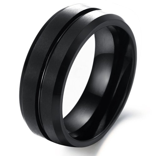 Ecoyo 8mm Polished Edge/ Matte Brushed Finish Grooved Center Men's Tungsten Ring Wedding Band Color Black
