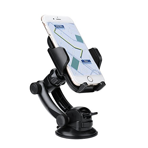 Pictek Universal Dashboard/ Windshield Car Mount Phone Holder with Sticky Suction Cup, Support 360 Degrees Adjustment, for iPhone 6s Plus 6s SE 5 5S 4 Samsung Galaxy S7 Edge S7 S6 Sony Xperia XA Ultra and More