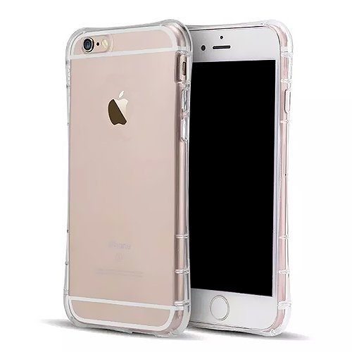 SZJJX® iPhone 6/6s Clear Air Cushion Case Slim Soft Flexible TPU Bumper Hard Polycarbonate Interchangeable Back Case for Apple iPhone 6/6s Shock Absorbing Scratch Resistant Frame Cover Protector with Protective Caps 4.7 inch