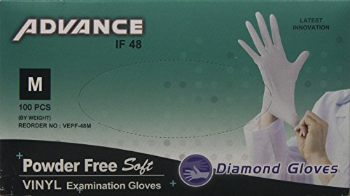 Diamond Gloves Advance Powder-Free Soft Vinyl Examination Gloves, Clear, Medium, 100 Count