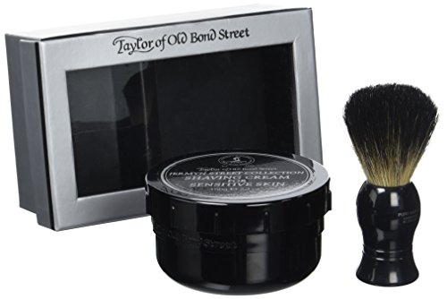 Black Pure Badger Shaving Brush and Jermyn St. Shaving Cream Bowl 150g Gift Set 2 shave set by Taylor of Old Bond Street