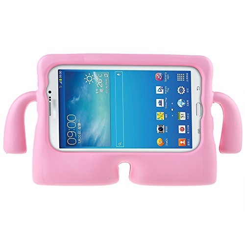 ABLEGRID® Protective Rubberise EVA Foam Childproof Shockproof Cover Case Durable Light Weight Cute Cartoon Kids Case for Samsung Galaxy Tablet 2 /3 /3 Lite / 4 / Q (7 inch version) (Pink)