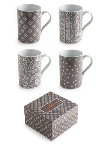 Rosanna 94862 Casablanca Mugs, Gray/White, Set of 4