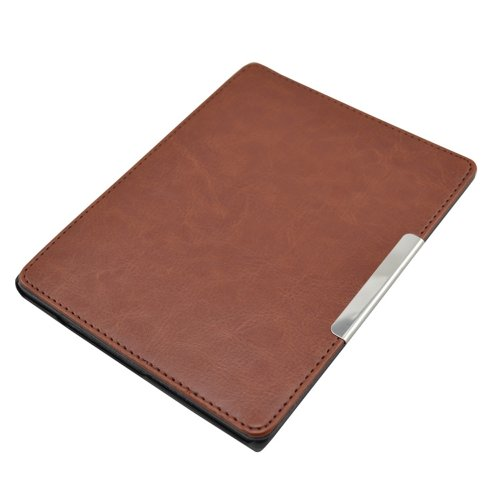 Magnetic Magnet Ultra Slim Thin Leather Cover Sleeve Case with Auto Wake Sleep Mode for eReader eBook Kobo AURA (NOT fit KOBO AURA HD) (Brown)