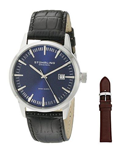 Stuhrling Original Men's 555A.04 Analog Classic Ascot II Swiss Quartz Movement Blue Dial Black Watch with Interchangeable Brown Leather Strap