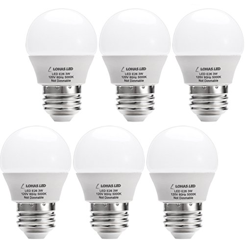 LOHAS 3W G14 E26 Led Bulbs,25 Watt Incandescent Bulb Equivalent,Natural Daylight White 5000K LED Light Bulb,Energy Saving Light Bulbs, LED Lights for Home(6 Pack)