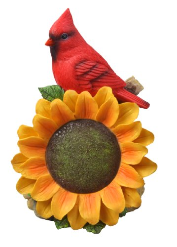 Moonrays 91342 Cardinal with Sunflower and Outdoor Solar-Powered LED Light