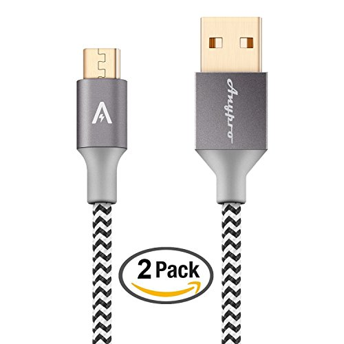 Anypro Nylon Braided 2.0 Micro-USB to USB Cable - 2 Pack (2m,1m)