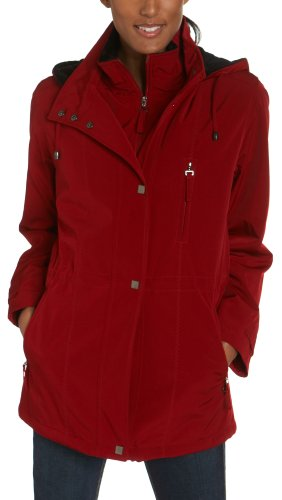 Liz Claiborne Women's Snaux Silk Snap Front Jacket With Hood, Autumn Red, Large