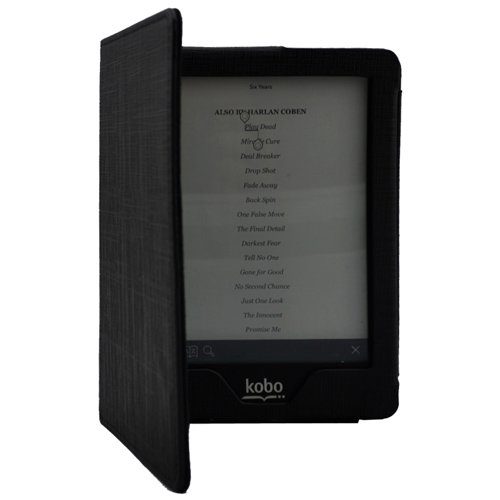 Magnetic Leather Cover Folio Case with Auto Wakeup Sleep Mode for Kobo Glo eReader (Black)