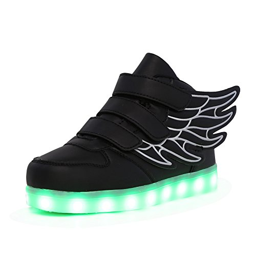 CIOR Kids Boy and Girl's 7 Color Wings Led Sneakers Light Up Flashing Shoes