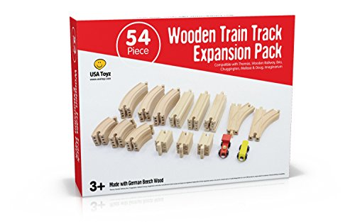 Wooden Toy Train Set - 54 Piece Expansion Pack - Compatible with Thomas and Other Major Brands