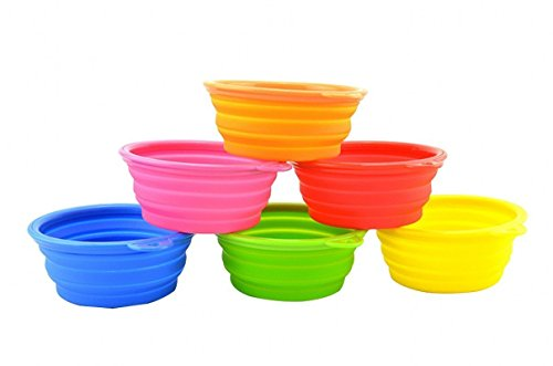 Attmu Silicone Collapsing Pet Bowls, Expandable Travel Dish, Premium Pet Travel Bowl for Food and Water, Portable and Durable Pop-up Feeder, Set of 6, 6 Colors