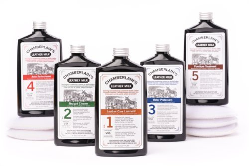 Complete Leather Milk Formula Set No. 1 - No. 5 | Natural Cleaners, Conditioners & Protectors for Handbags, Purses, Sofas, Couches, Jackets, Shoes, Car Seats & More. FREE Cleaning Pads! Made in USA.