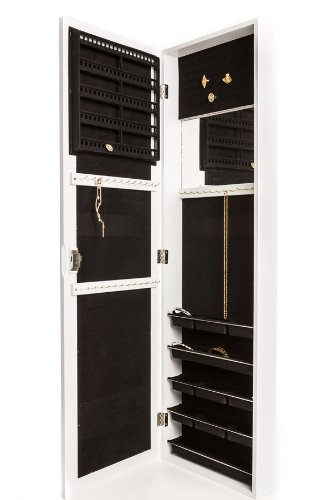 Perfect Life Ideas Jewelry Armoire Wall Mount with Mirror, Hanging Over the Door, Locking Cabinet with Lock. Store, Display, Organize Earrings, Necklaces, Bracelet and More. - White