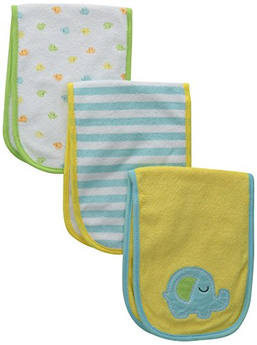 Gerber Unisex-Baby Terry Burp Cloths, Elephant, One Size (Pack of 3)