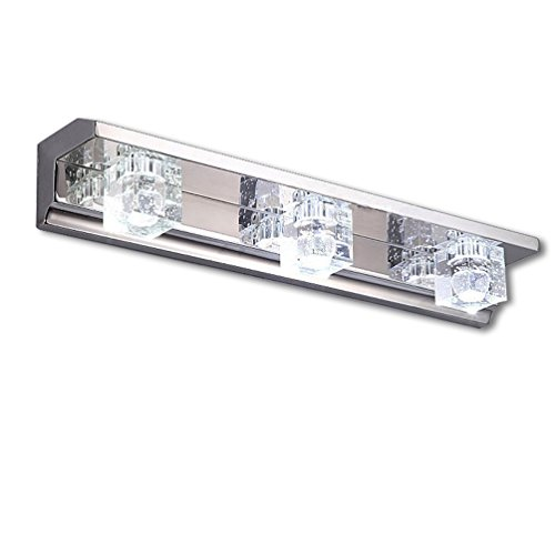 Dailyart K9 3w Wall Lamp Bathroom Lighting Crystal and Lampshade Stainless Steel LED Mirror Light Wall Sconces. Cool White.