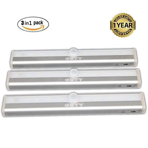 Portable Wireless Motion Activated Detector Sensing LED Light Bar Automatic Battery Operated Stick-on Anyplace with Magnetic Strip (Pack of 3)