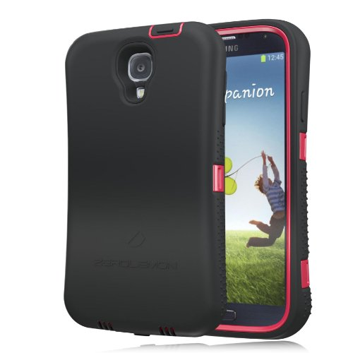 [180 Days Warranty][Case WITHOUT Battery] Zerolemon Samsung Galaxy S4 Zeroshock Shockproof/dustproof Shockproof/dustproof Rugged Midnight Black / Red Case + Holster/kickstand + Screen Protector for 7500mah Extended Battery Case ***Battery NOT Included*** (Compatible with At&t I337, Verizon I545, Sprint L720, T-mobile M919, International I9500 & I9505)